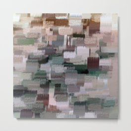 abstract colorful pastel drawing green brown tones Metal Print