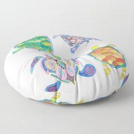 Four Sea Turtle Friends -multicolor theme Floor Pillow