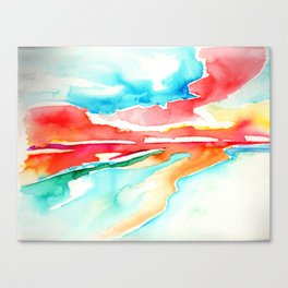 fire in the sky - beach at sunset Canvas Print