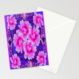 Purple Amethyst Gems  & Pink-purple Floral Patttern Abstract Stationery Cards