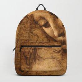 Head of a Woman Painting by Leonardo da Vinci Backpack