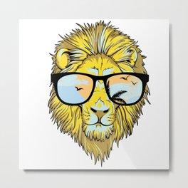 Retro Vintage Hipster Lion Sunglasses Metal Print