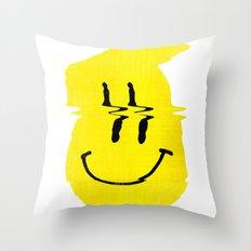 Smiley Glitch Throw Pillow