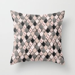 Rose Gold Blush Mermaid Princess Glitter Scales #1 #shiny #decor #art #society6 Throw Pillow