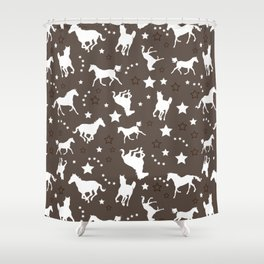 Horse Equestrian Brown and White Pattern Shower Curtain