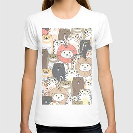 Cute Tigers And Cats Pattern T-shirt