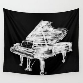 Black Piano Wall Tapestry