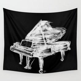 Black Piano Wall Tapestry