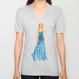 Karlie in Strapless Blue Mermaid Gown Unisex V-Neck