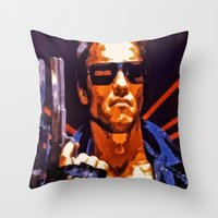 terminator Throw Pillows featuring The Terminator by Joe Misrasi