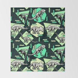 90's Dinosaur Skeleton Neon Pattern Throw Blanket