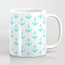 Anchors (Turquoise & White Pattern) Coffee Mug