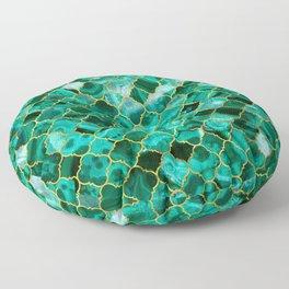 Quatrefoil Moroccan Pattern Green Malachite and gold Floor Pillow