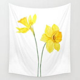 two botanical yellow daffodils watercolor Wall Tapestry