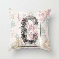 C - network typography on flowers Throw Pillow