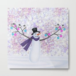 snowman, chickadees, and ornaments Metal Print