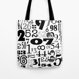 The Numbers in Black and White Tote Bag