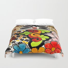Beautiful Red and Green Talavera Duvet Cover
