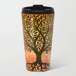 Tree Of Life Warm Tones Metal Travel Mug