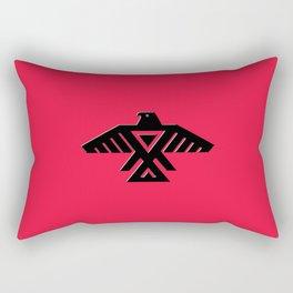Thunderbird, Emblem of the Anishinaabe people - Black on Red Rectangular Pillow
