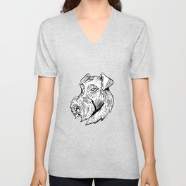 Airedale Terrier Head Etching Black and White Unisex V-Neck