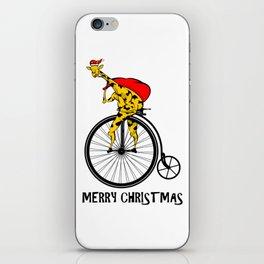 Giraffe on a bike Santa Claus iPhone Skin