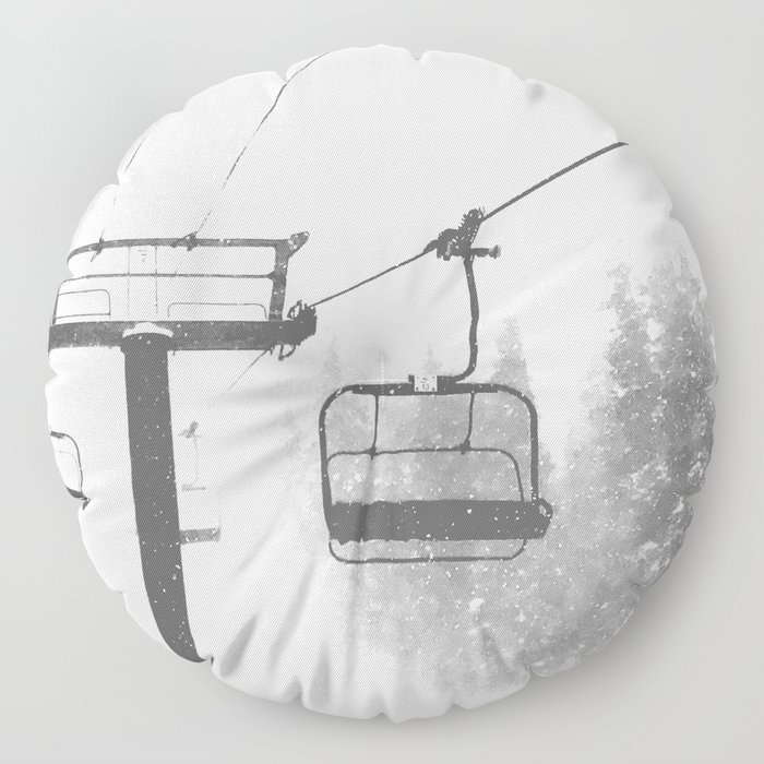 Chairlift Abyss // Black and White Chair Lift Ride to the Top Colorado Mountain Artwork Floor Pillow