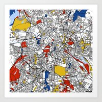 berlin Art Prints featuring Berlin  by Mondrian Maps