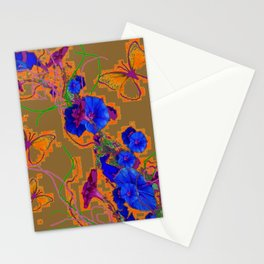 Modern Butterflies  Royal Blue Morning Glory Pattern Art Stationery Cards