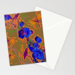 Modern Butterflies  Royal Blue Morning Glory Pattern Art Stationery Cards