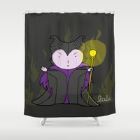 maleficent Shower Curtains featuring Maleficent by Lalu