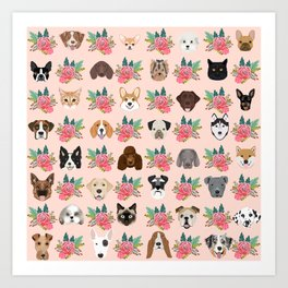 Dogs and cat breeds pet pattern cute faces corgi boston terrier husky airedale Art Print