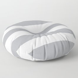 Metallic silver - solid color - white stripes pattern Floor Pillow