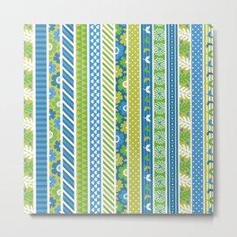Geometrical lime green blue floral stripes patterns Metal Print