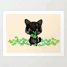The Luckiest Cat Art Print