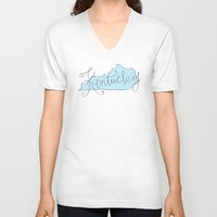 kentucky V-neck T-shirts featuring Kentucky - Blue by Oh Happy Roar - Emily J. Stivers