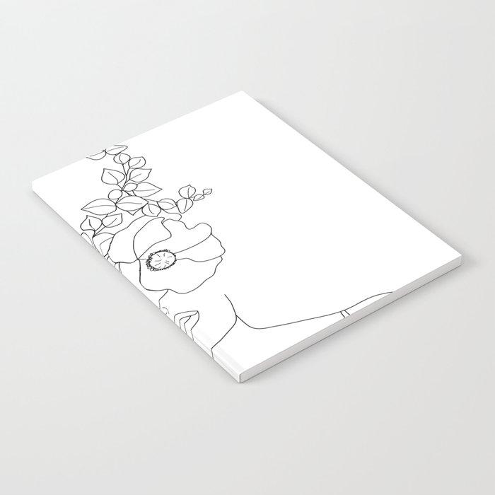 Minimal Line Art Woman with Flowers II Notebook