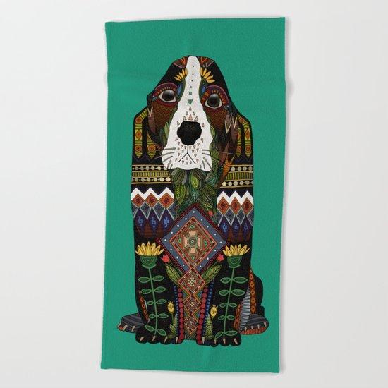 Basset Hound jade Beach Towel
