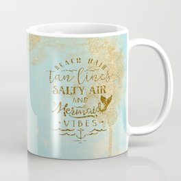 Beach - Mermaid - Mermaid Vibes - Gold glitter lettering on teal glittering background Coffee Mug