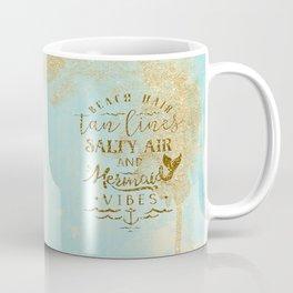 Beach - Mermaid - Mermaid Vibes - Gold glitter lettering on teal glittering background Coffee Mug