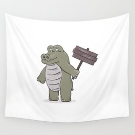 hippopotamus with happy hour sign Wall Tapestry