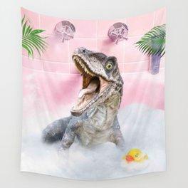 Cute Self-Care Bathing Raptor Dinosaur Palm Bath Wall Tapestry
