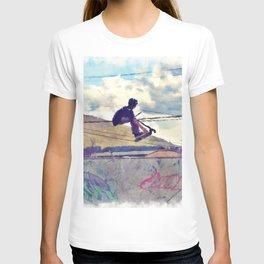 Graffitti Glide Stunt Scooter Sports Artwork T-shirt