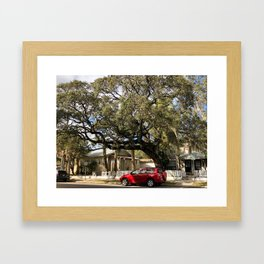 Parked car in front of tree Framed Art Print
