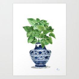 Ginger jar vase, peppermint painting Art Print