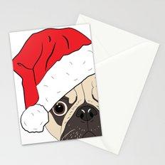 Christmas pug, festive dog vector Stationery Cards