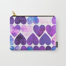 Mod Purple & Blue Grungy Hearts Design Carry-All Pouch
