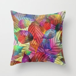 Coloured Leaf Collage Throw Pillow