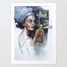 "Watercolor illustration ""Voodoo Pepper"". Girl with witchy supplies, herbs and red hot chilies in the Art Print"