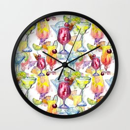 Tropical Watercolor Cocktails Wall Clock